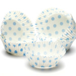45mm X 25mm Blue Polka Dot Queen Cake Cases (500)
