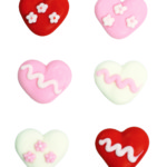 Assorted Hearts Sugar Pipings (150) 30mm