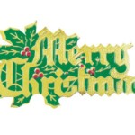 Merry Christmas Green & Gold Paper Motto 70mm (100)