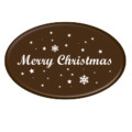 Dark Chocolate Oval Merry Christmas Motto 47mm x 30mm (196)