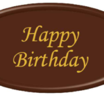 Happy Birthday Chocolate Oval Plaque 50 x 90mm
